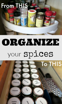 Do your spices need a makeover? Make your spices organized and easy to find with this easy spice container organizing  tutorial!